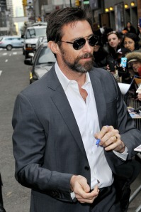 Hugh Jackman sports a scruffy beard while greeting fans outside the 'Late Show with David Letterman' in NYC